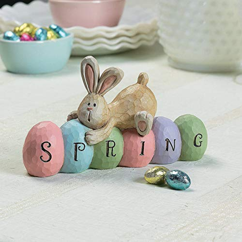 Koolee Spring Easter Bunny Figurine Decor, Easter Rabbit Figurine Statue Easter Bunnies Table Centerpiece Tabletopper Easter Decorations,Cute Craft Rabbits Egg Tabletop Decors