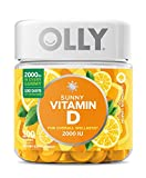 OLLY Sunny Vitamin D Gummy, 100 Day Supply (100 Gummies), Luminous Lemon, 2000 IU Vitamin D3, Chewable Supplement