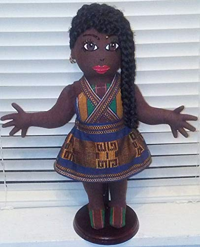 Handcrafted, Hand Painted, 13 inch Doll, Black Doll, African American Doll, African Inspired, Ethnic Doll, Multicultural Doll, Collectible Doll, Natural Hair Styles, Black Doll Maker