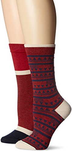 Timberland Womens Geo Pattern and Color Blocked Crew Sock 2-Pack Assorted
