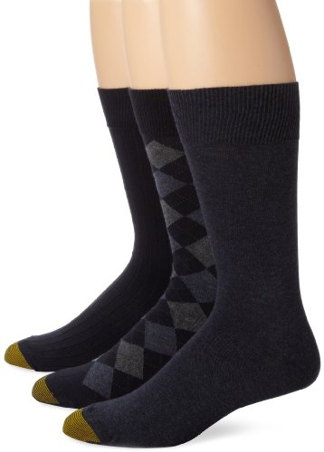 Gold Toe Men's Classic Dress Socks (Pack of Three Pairs), Diamond/Denim Flat/Navy Rib, 6-12.7