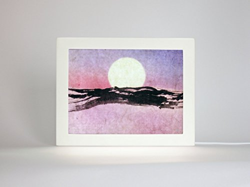 Purple Full Moon Night, Abstract Mountain Painting, LED Nightlight, Original Abstract watercolor mountain, Small calligraphy art, M005 Purple Haze Framed
