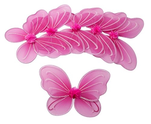 Girls Butterfly, Fairy, and Angel Wings for Kids 6 Pack (Hot Pink)