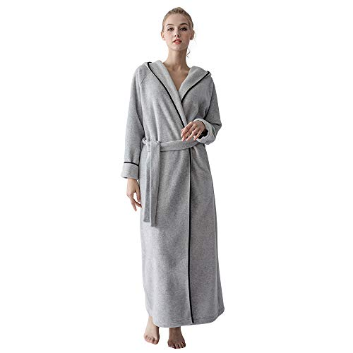 7 VEILS Women and Men Microfleece Ultra Long Floor-Length Hooded Bathrobes-Light - Microfleece Bathrobe Womens