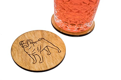 Stained Pug Coasters - Set of 4 Handmade Engraved 3.5
