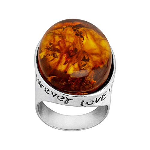 Silpada 'Everlasting Love' Natural Amber Engraved Cocktail Ring in Sterling Silver
