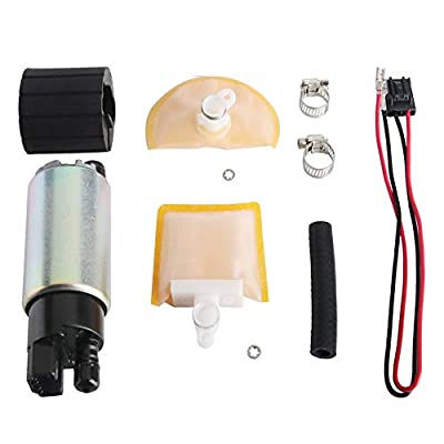 MUCO New 255LPH High Flow Intank Electric Fuel Pump with Strainer/Filter + Rubber Gasket/Hose + Stainless Steel Clamps + Universal Connector Wiring Harness MCP-203A: Automotive