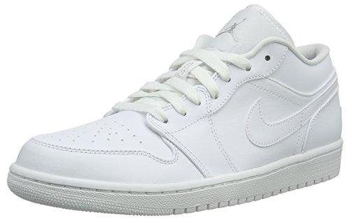 Nike Jordan Men's Air Jordan 1 Low White/White/Metallic Silver Basketball Shoe 9 Men US (Air Jordan Low Shoes)