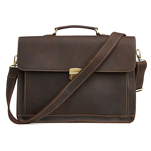 15.6'' Mens Vintage Briefcase Crazy Horse Leather Laptop Bag (Brown) by DIOULAORENTOU