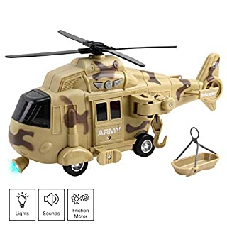 "Vokodo Military Helicopter 11"" With Lights Sounds Push And Go Includes Rescue Basket Durable Toy Friction Power Kids Army Soldier Chopper Pretend Play Truck Great Gift For Children Boys Girls Toddlers"