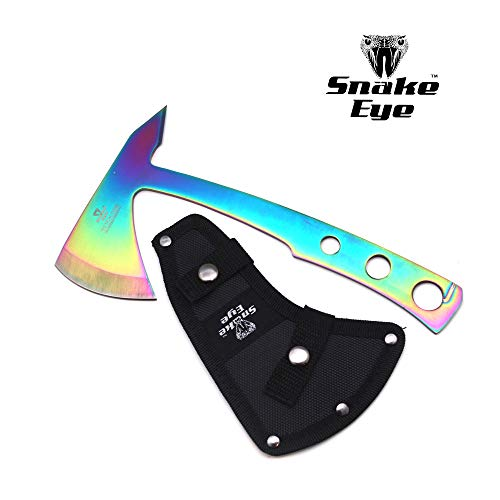 Snake Eye Tactical Compact Tomahawk Full Tang Camping Axe Outdoors Hunting Fishing Throwing Survival (Rainbow) ()