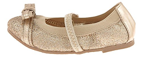 Capelli New York Fine Glitter Faux Leather With Glitter And Metallic Bow, Elastic Collar & Bridge Strap On A Fabric Covered Tpr Outsole Toddler Girls Flat Gold - Bridge Mall