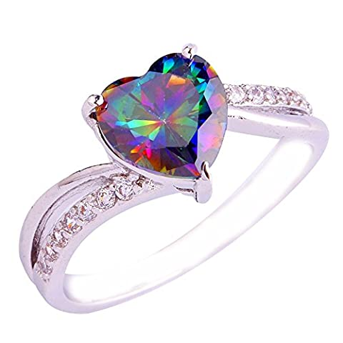 Empsoul 925 Sterling Silver Natural Chic Filled Rainbow & White Topaz Engagement Ring Heart Shaped - Topaz Button