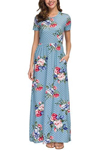 (Zattcas Womens Dresses Maxi Long Dresses with Short Sleeve Boho Floral Dresses (X-Large,Light Blue with Polka dot))