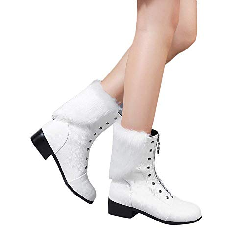 Women's White Angel Fashion Vintage Velvet Tassel Waterproof Ankle Boots -