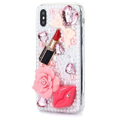 iPhone Xr Bling Case,iPhone Xr Diamond Case,FreeAir 3D Handmade Crystal Bling Diamonds Shiny Rhinestone Sexy Lipstick Soft Case for iPhone Xr (6.1 inch)