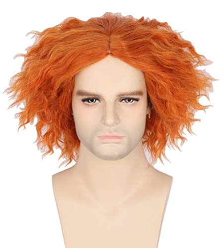 Mens Ginger Wig (Topcosplay Shaggy Halloween Costumes Wig for Women Men Short Curly Cosplay Wigs Orange Ginger)