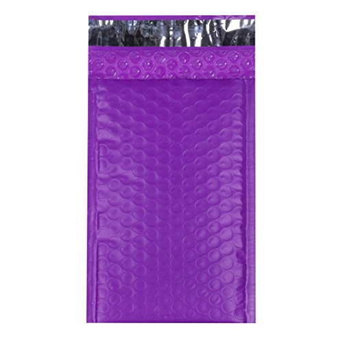 """Mailer Plus #000 4x8"""" Poly Bubble Mailers Self Seal Purple Padded Envelopes Pack of 50"""