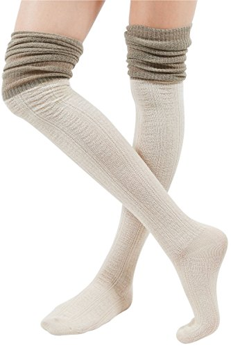 WowFoot Ladies Knit Over The Knee High Socks Women Slouch Stockings (Two-tone : Ivory), One Size