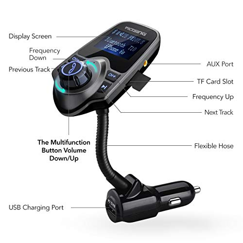 VicTsing Bluetooth FM Transmitter, Wireless In-Car Audio Adapter /w USB Port, Support AUX Input 1.44 Inch Display TF Card Slot - Silver Grey