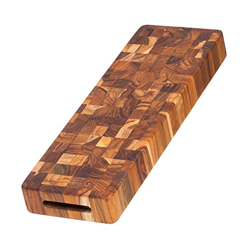 Teak Cutting Board - Rectangle End Grain Serving & Cheese Board (18 x 6 x 2 in.) - By Teakhaus