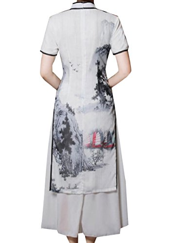 Cheongsam Peacock Layers Silk Women Coolred Double Style Dress Grey Chinese XvwYA0Iq