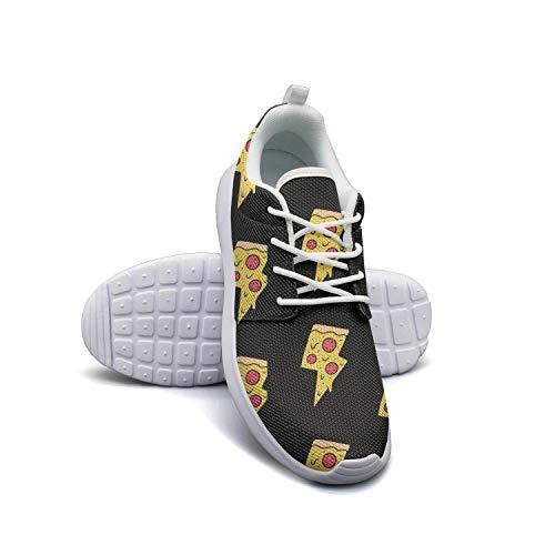 (Pizza Lightning Bolts Black Backdrop white Sneaker Shoes for Women slip on Wear-Resistant Run Shoes )