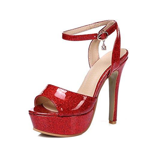 ZHZNVX zapatos de piel sintética Materiales personalizados Novedad Primavera Verano sandalias de bomba básica Stiletto talón para Boda,noche Oro Plata rojo Red