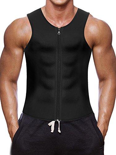 Men Waist Trainer Vest for Weightloss Hot Neoprene Corset Body Shaper Zipper Sauna Tank Top Workout Shirt (M, Black Neoprene Slimming Vest)