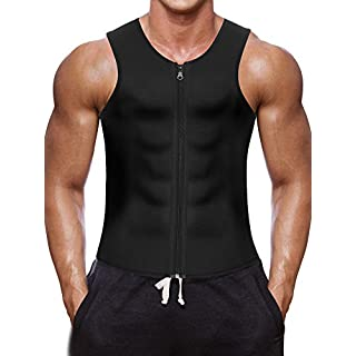 Men Waist Trainer Vest Hot Neoprene Corset Body Shaper Zipper Sauna Tank Top Workout Shirt (L, Black Neoprene Slimming Vest)