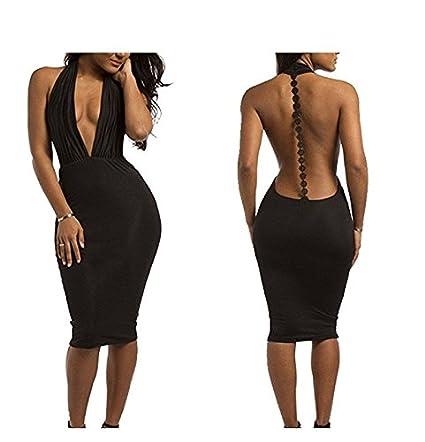 yeah67886 mujeres Lady Fasion Sexy profundo cuello de pico espalda descubierta bodycon club DRESS-BLACK