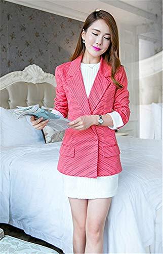 Autunno Rose Eleganti Ragazza Lunga Business Outerwear Manica Ufficio Sottile Di Bavero Dots Casuali Chic Tailleur Fashion Da Blazer Primaverile Giacche Vintage Giacca Donna Polka g1pwqp