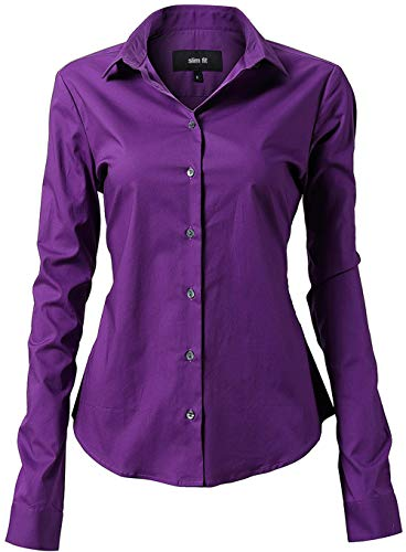 (Button Down Shirts for Women Formal Work Wear Simple Purple Shirts Size 10)