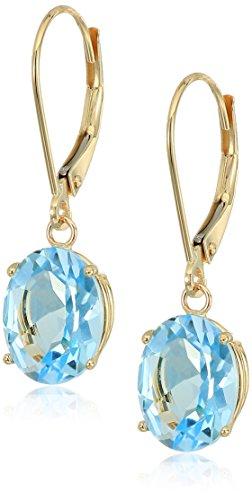 Blue Topaz 14k Gold Earrings - 14K Gold Oval Gemstone Dangle Leverback Earrings