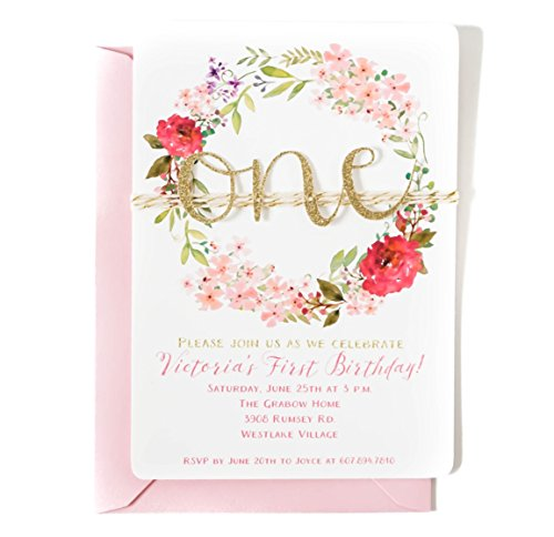 Personalized Floral Wreath First birthday invitations girl, Pink and Gold, Gold glitter one cut out on twine, Arrives fully assembled with envelopes in your choice of color -