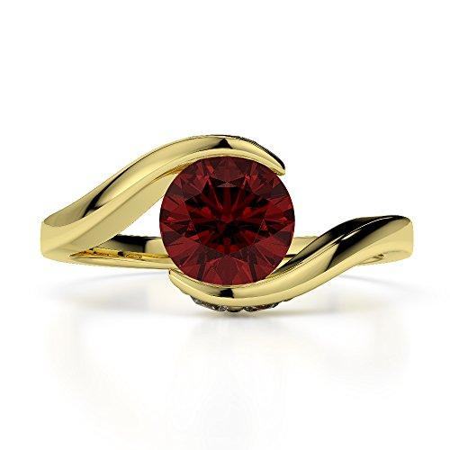 Or jaune 18carats 0,76ct G-H/VS sertie de diamants ronds Cut Grenat et bague de fiançailles Agdr-1209