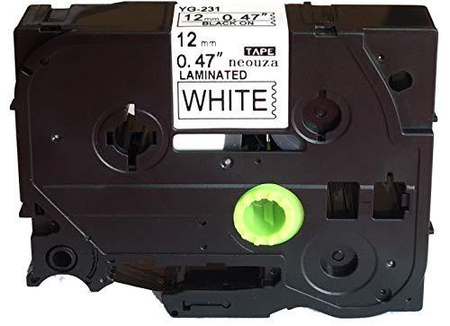 (NEOUZA 1PK Black on White Label Tape Compatible for Brother TZ TZe 231 TZ-231 TZe-231 P-Touch 12mm x 8m Black on White)