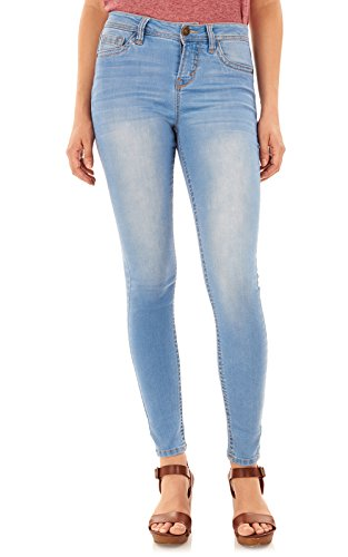 WallFlower Women's Juniors High Rise Irresistible Denim Jegging in Eden, 7 Short Jegging Short
