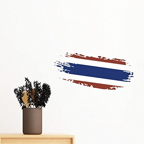 Kingdom of Thailand Thai Traditional Customs Culture Bangkok Thailand Flag Art Illustration Removable Wall Sticker Art Decals Mural DIY Wallpaper for Room Decal by DIYthinker