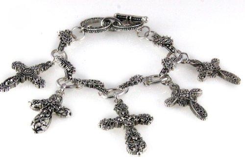 4030020 Ornate Filigree Cross Charm Bracelet Christian Inspirational Religious Jewelry