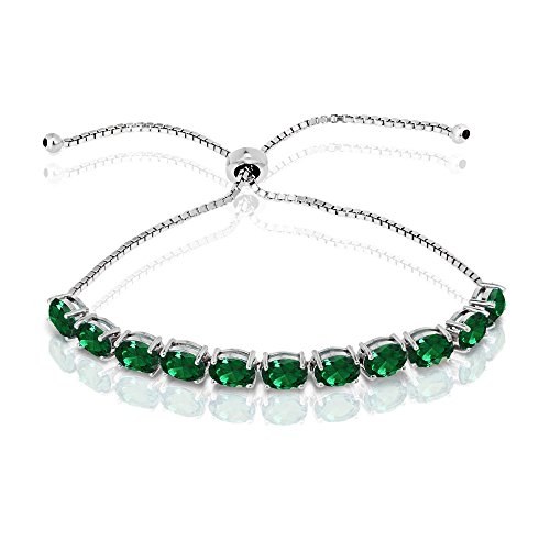 Sterling Silver Genuine, Created or Simulated Gemstone 7x5mm Oval-Cut Adjustable Tennis Bracelet