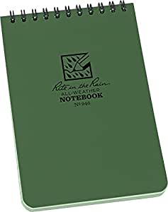 """Rite in the Rain All-Weather Top-Spiral Notebook, 4"""" x 6"""", Green Cover, Universal Pattern (No. 946)"""