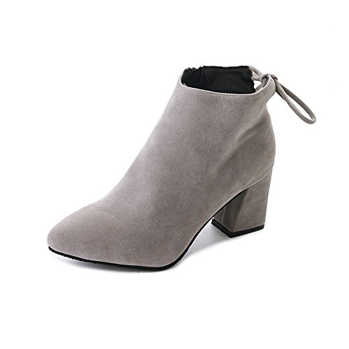 gray suede dress boots - 1