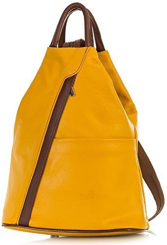 - LiaTalia Unisex Soft Italian Leather Convertible Strap Small Backpack Rucksack Duffle Bag - Alex [Mustard Yellow - Brown Trim]