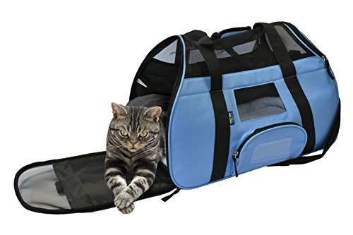 KritterWorld Portable Comfort Soft Sided Airline Approved Pet Travel Carrier Bag for Dog/Cat Small Animals Tote w/ Built-in Collar Buckle & Removable Fleece Bed - Blue