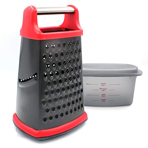 Box Grater, Stainless Steel with 4 Sides, with Detachable Storage Container Best for Parmesan Cheese, Vegetables, Ginger (File Grater)