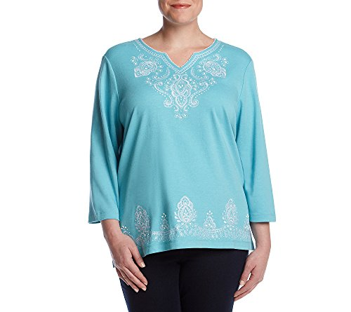 Alfred Dunner Women's Plus Size Scroll Beaded Yoke Border T-Shirt, Seafoam, 3X (T-shirt Scroll)