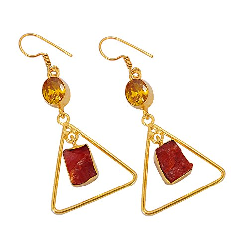 22k Yellow Gold Vermeil Rough Carnelian And Citrine Gemstone Designer Earrings For Valentines Day Gift