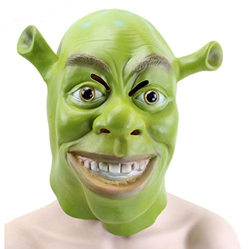 Latex Shrek (WANG XIN Shrek Mask of The Moon Halloween Mask Latex Material Stereo Promally Party Party Cos Movie Mask)