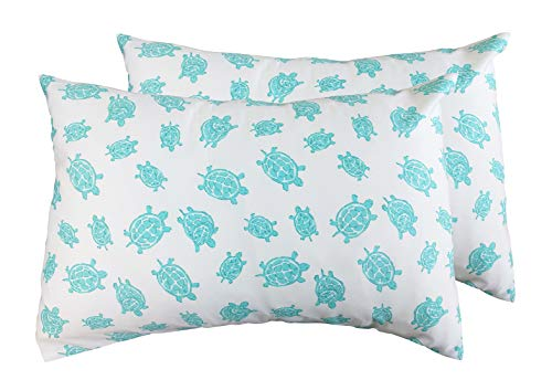 2 Toddler or Travel Pillowcases in Organic Cotton to Fit 13 x 18 and 14 x 19 Pillow, Turtle Print (Aqua) ()